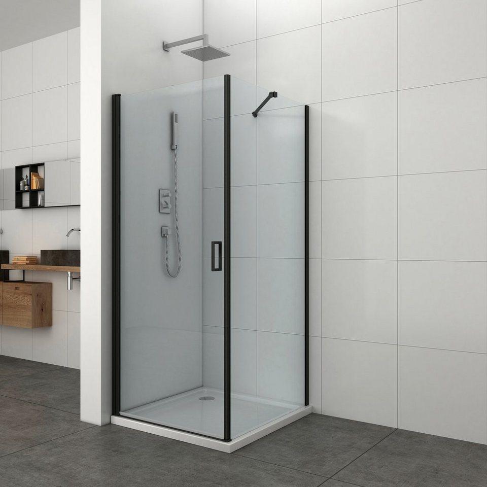 Duschelement »ELITE«, Fixglas mit Alu-Profil in Schwarz Matt online kaufen    OTTO