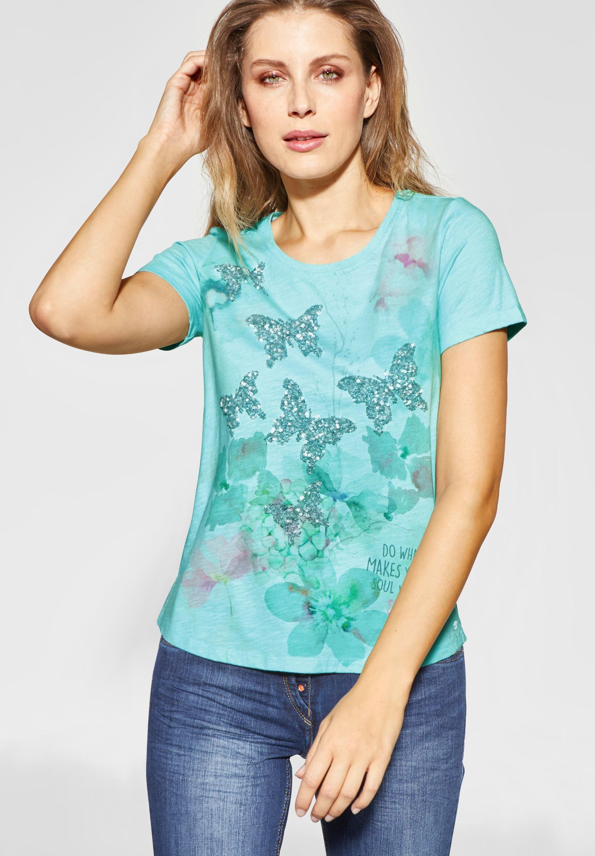 Cecil Print-Shirt mit Pailletten