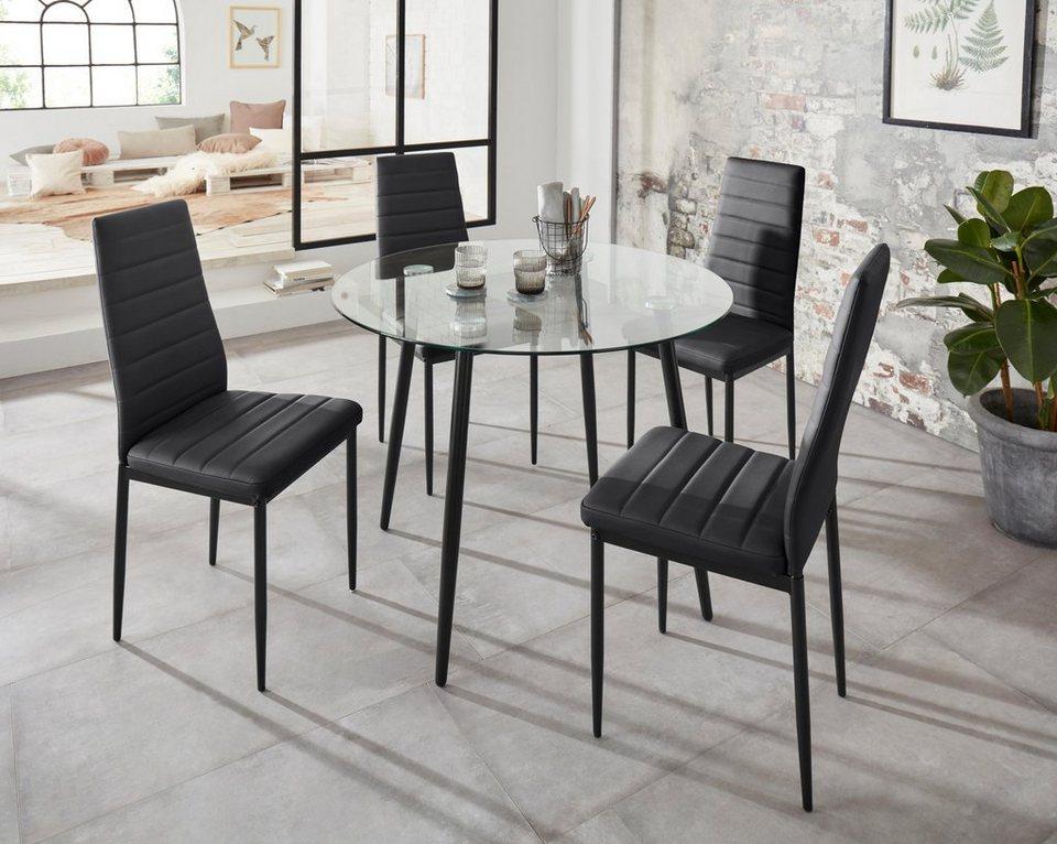 Essgruppe Danny Set 5 Tlg Mit Rundem Tisch Und 4 Stuhlen