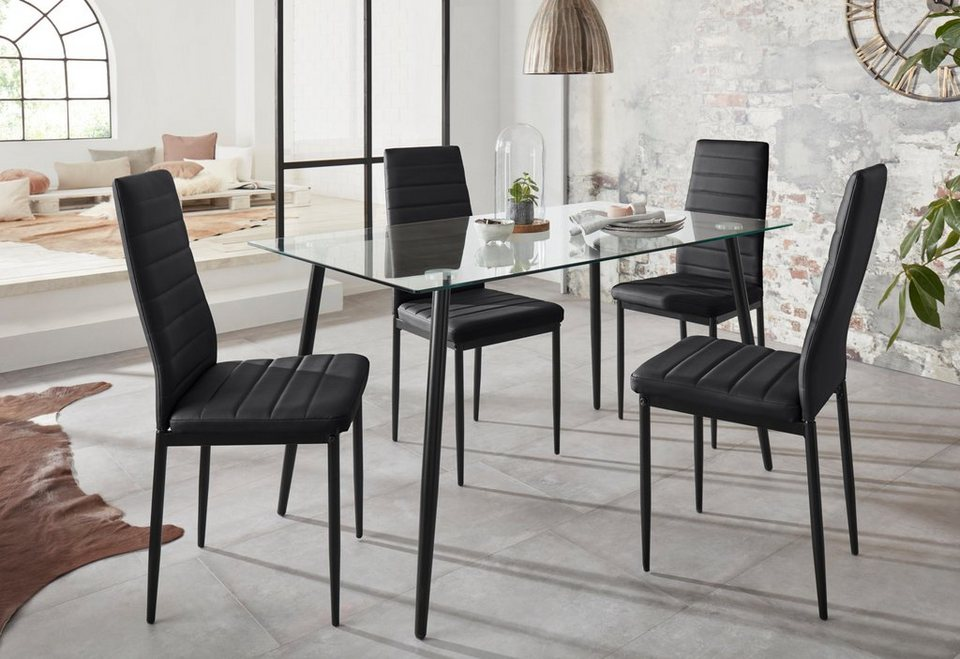 5 Eckiger Tisch.Essgruppe Danny Set 5 Tlg Mit Eckigem Tisch Und 4 Stühlen Online Kaufen Otto