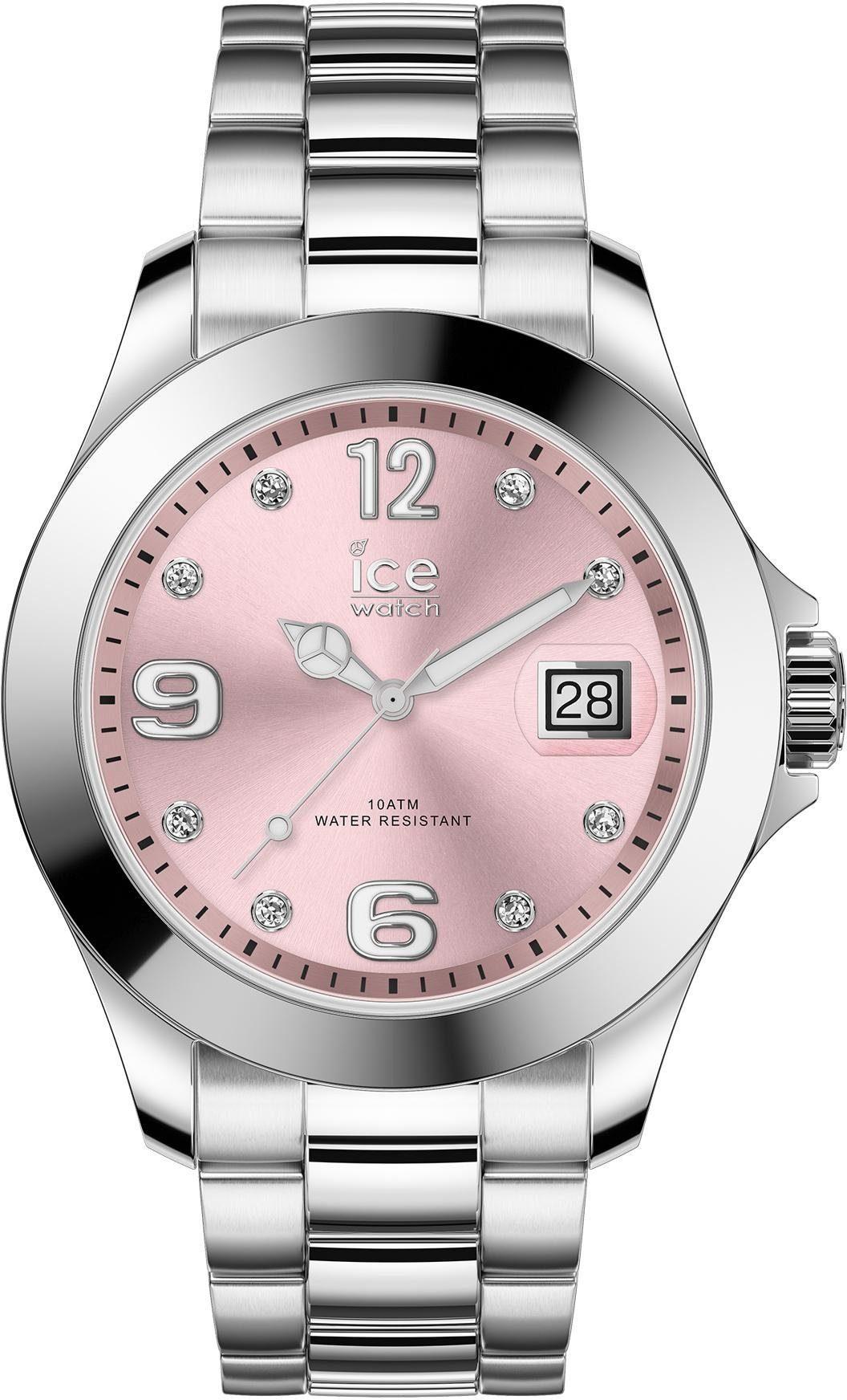 ice-watch Quarzuhr »ICE steel classic - Light pink silver - Stones - Medium - 3H, 16776«