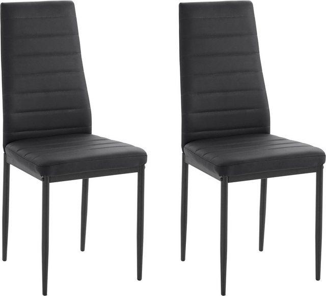 Stühle und Bänke - my home Esszimmerstuhl »Sandy« (Set, 2 Stück), (2 oder 4 Stück) Bezug in Kunstleder, schwarzes Metallgestell  - Onlineshop OTTO