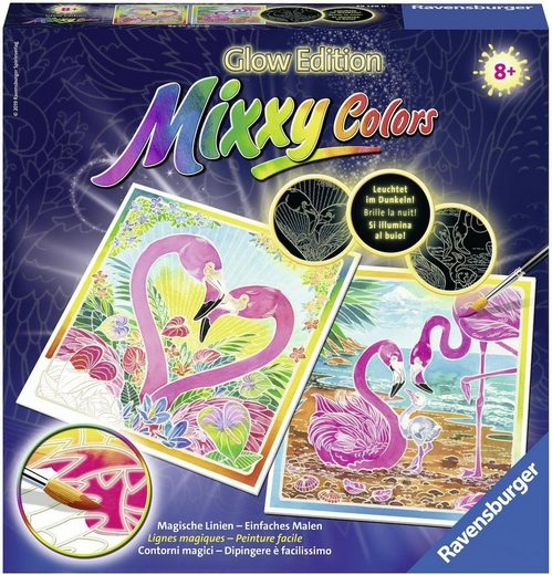Ravensburger Malvorlage »Mixxy Colors Glow Edition - Traumhafte Flamingos«, Made in Europe