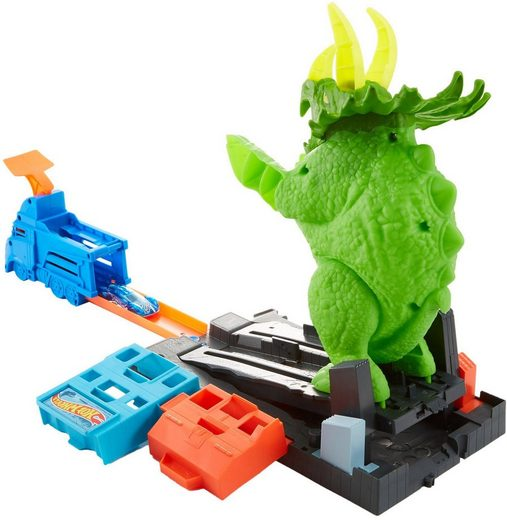 Hot Wheels Autorennbahn »City Dino Triceratops-Angriff Set«