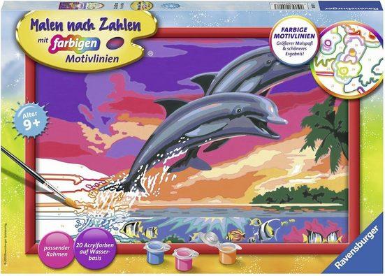 Ravensburger Malen nach Zahlen »Welt der Delfine«, Made in Europe, FSC® - schützt Wald - weltweit