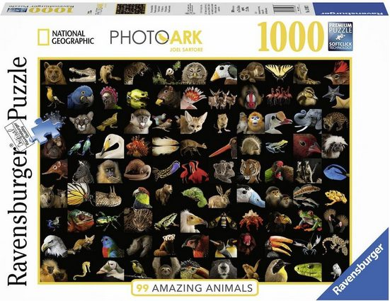 Ravensburger Puzzle »National Geographic - 99 atemberaubende Tiere«, 1000 Puzzleteile, Made in Germany