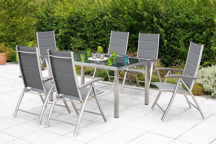 MERXX Diningset »Ferrara«, 7-tlg., 6 Sessel, 1 Tisch 150x90 cm, Edelstahl