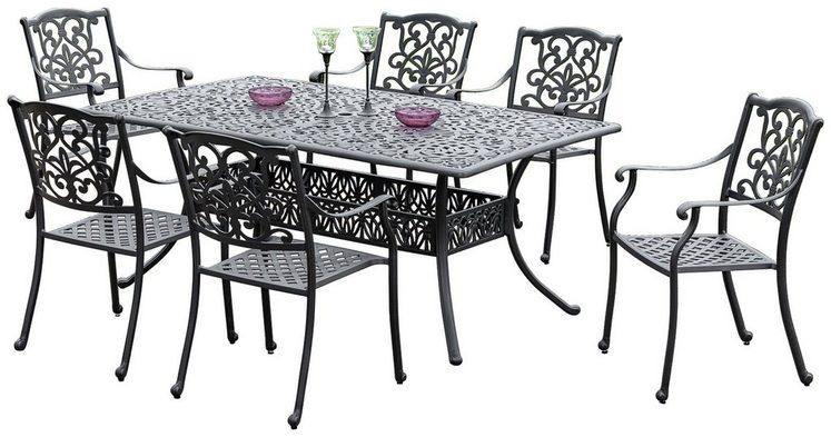 MERXX Diningset »Athos«, 7-tlg., 6 Sessel, 1 Tisch 180x105 cm, Aluminium