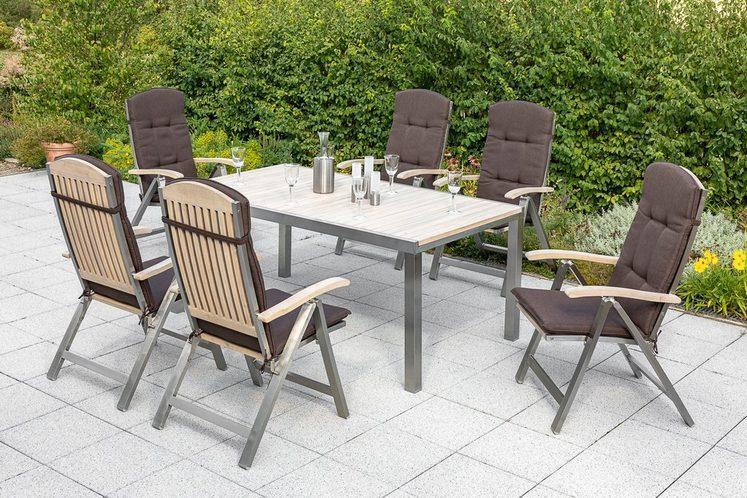 MERXX Diningset »Keros«, 13-tlg., 6 Sessel, 1 Tisch 180(240)x100 cm, Edelstahl