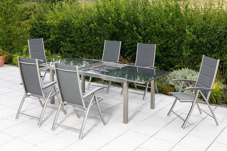 MERXX Diningset »Ferrara«, 7-tlg., 6 Sessel, 1 Tisch 180(240)x100 cm, Edelstahl