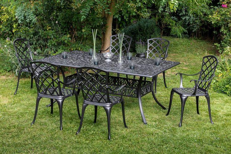 MERXX Diningset »Rhodos«, 7-tlg., 6 Sessel, 1 Tisch 180x105 cm, Aluminium