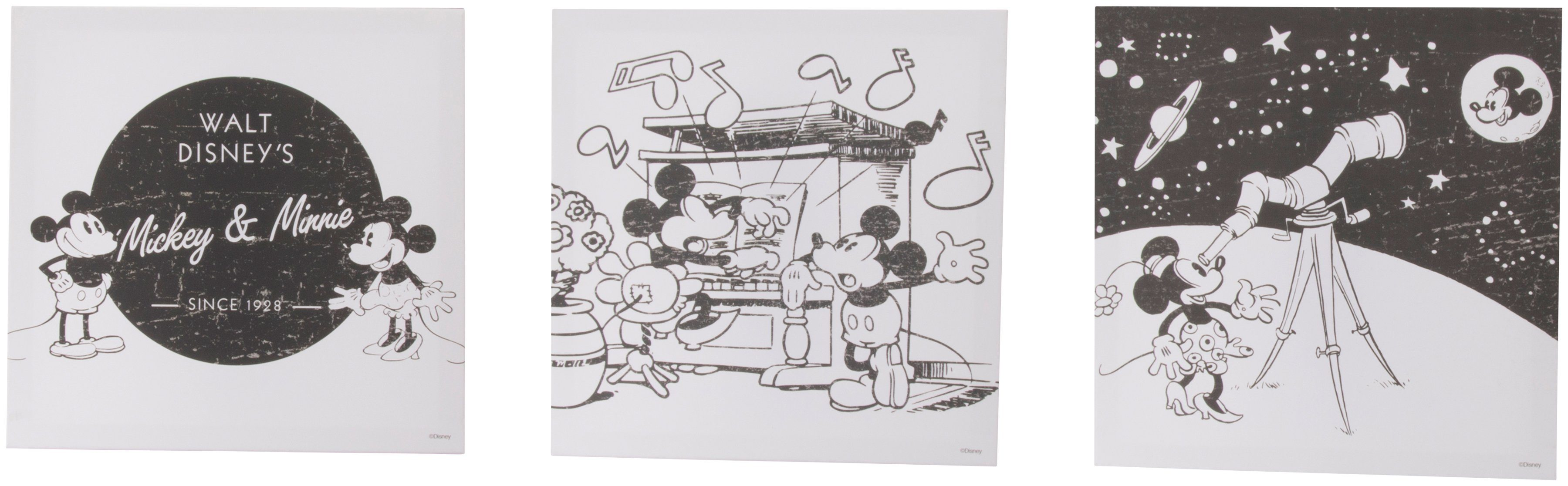 GRAHAM & BROWN Set: Leinwand »Mickey & Minnie im All«, 3-er Set