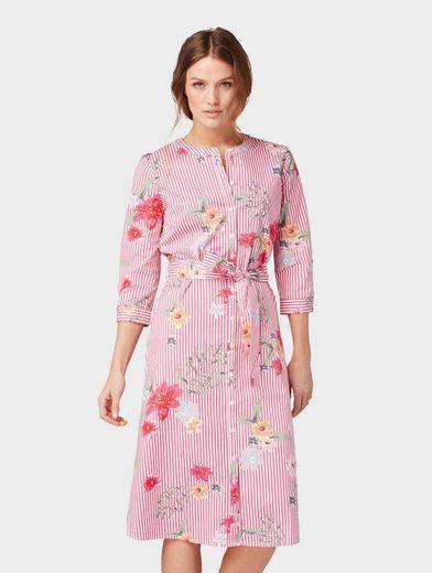 TOM TAILOR Sommerkleid »Kleid mit Streifen- und Blumenmuster«