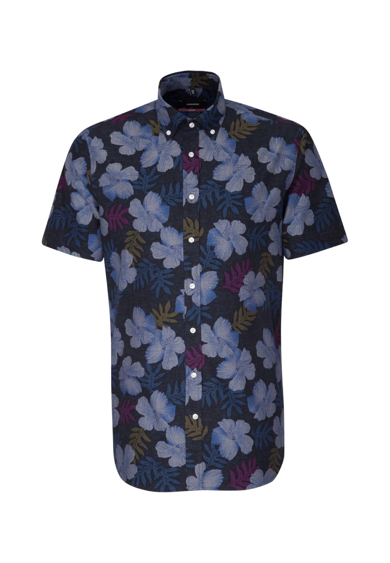 seidensticker Businesshemd »Modern« Modern Kurzarm Button-Down-Kragen Floraler Print