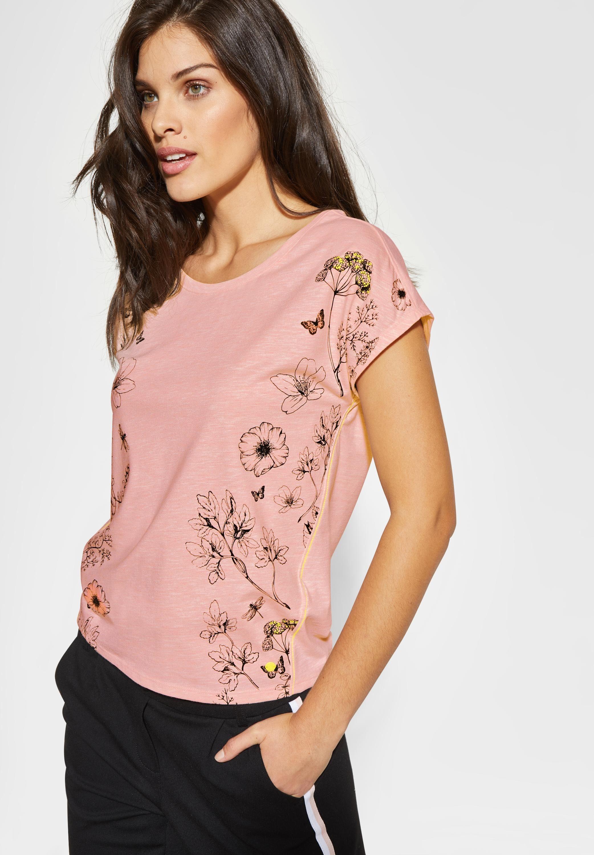 Cecil Rundhalsshirt »Melange Flower Frontprint«