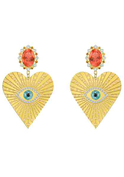 Swarovski Paar Ohrclips »Lucky Goddess Heart, mehrfarbig, vergoldet, 5464131« mit Swarovski® Kristallen