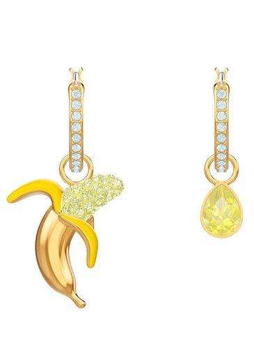 Swarovski Paar Creolen »No Regrets Banana, mehrfarbig, vergoldet, 5453571« mit abnehmbaren Einhängern und Swarovski® Kristallen