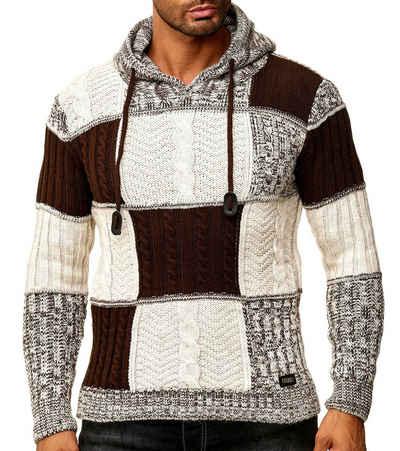 Rusty Neal Hoodie »RUSTY NEAL Hoodie Kapuzen-Sweater weicher Herren Grobstrick Pullover im Norweger Style Trendpulli Beige«