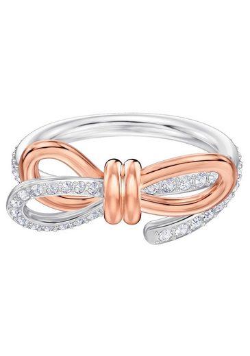 Swarovski Fingerring »Lifelong Medium Bow, weiss, Metallmix, 5474930, 5474928, 5440641, 5474931, 5474932«, mit Swarovski® Kristallen