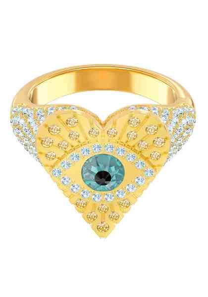 Swarovski Fingerring »Lucky Goddess Heart, mehrfarbig, vergoldet, 5482528, 5461778, 5482532« mit Swarovski® Kristallen