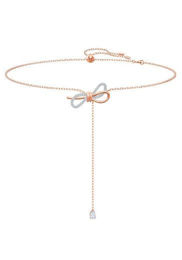 Swarovski Kette mit Anhänger »Lifelong Bow, weiss, Metallmix, 5447082«, mit Swarovski® Kristallen