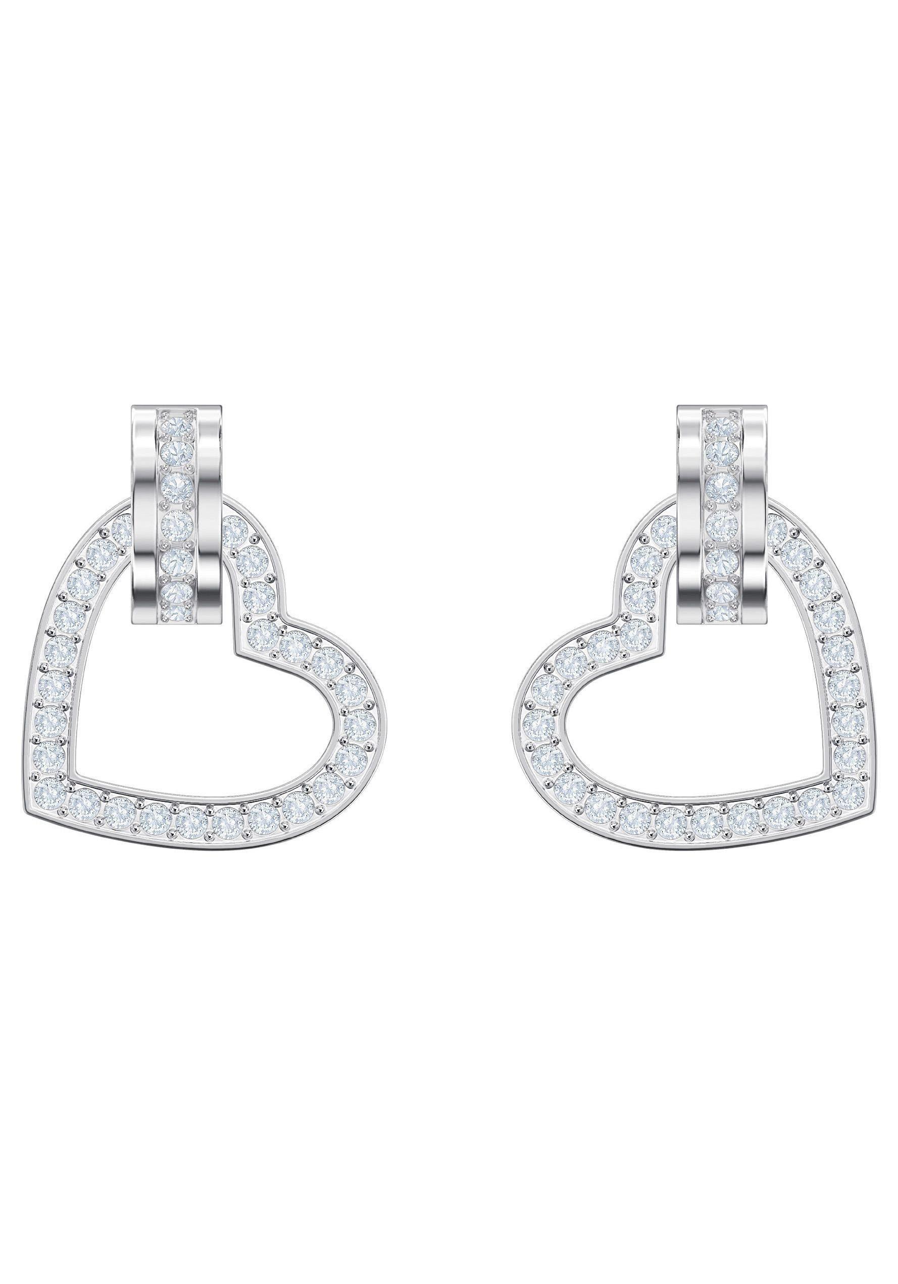 Swarovski Paar Ohrstecker »Lovely, weiss, rhodiniert, 5466756« mit Swarovski® Kristallen