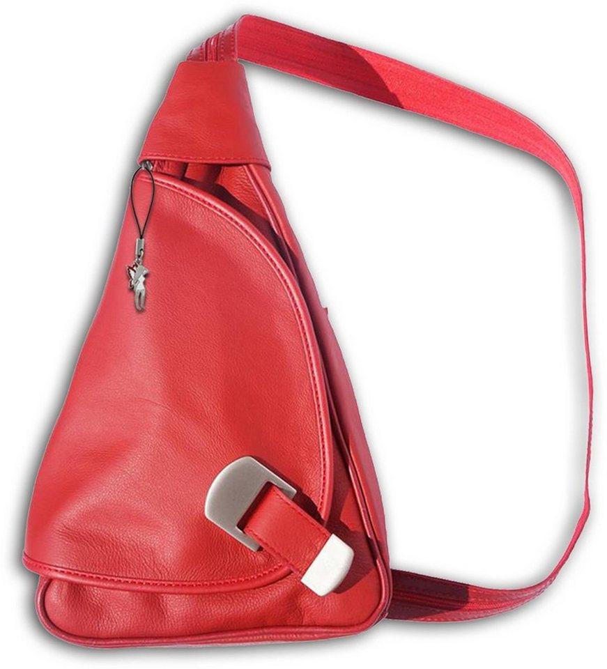 florence -  Cityrucksack »OTF600X  Damen Rucksack Schultertasche«, Damen Rucksack, Tasche, Echtleder rot