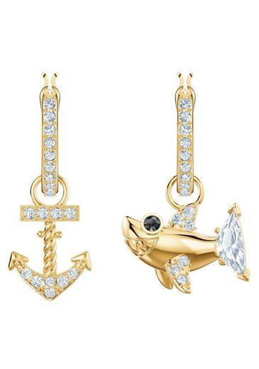 Swarovski Paar Creolen »Ocean Shark, weiss, vergoldet, 5463738«, mit abnehmbaren Einhängern und Swarovski® Kristallen