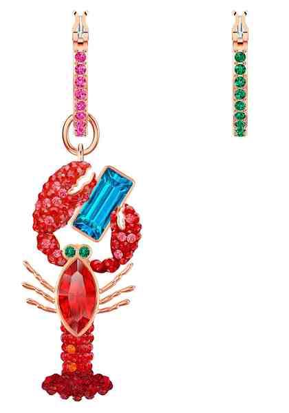 Swarovski Paar Creolen »Ocean Lobster, mehrfarbig, rosé Vergoldung, 5452555« mit abnehmbarem Einhänger und Swarovski® Kristallen