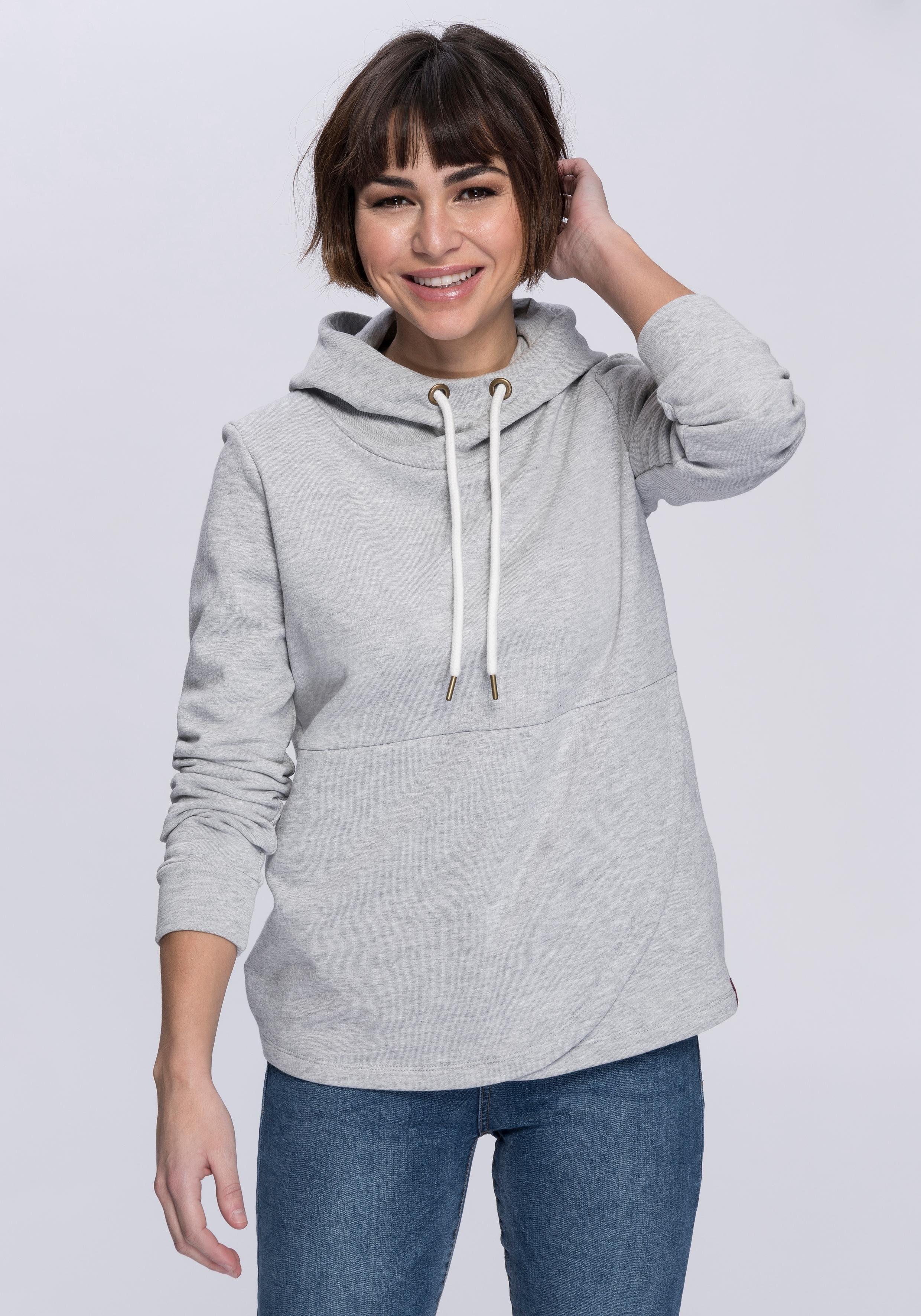 In Mit Kapuzensweatshirt Esprit Rumpfabschluss Wickeloptik tvS7q