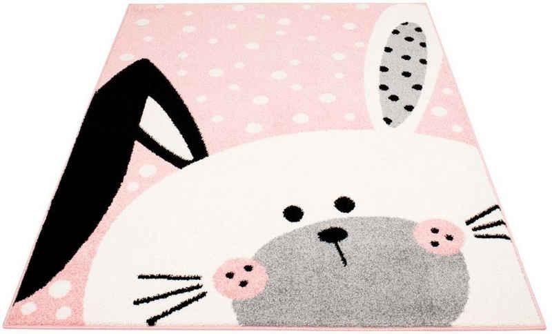 Kinderteppich »Bubble Kids 1316«, Carpet City, rechteckig, Höhe 11 mm, Hasen Motiv in pastell Farben, Kinderzimmer