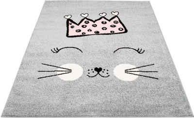 Kinderteppich »Bubble Kids 1331«, Carpet City, rechteckig, Höhe 11 mm, Katzen Motiv, Kinderzimmer