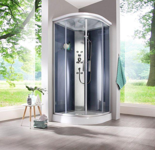 Duschen und Zubehör - WELLTIME Fertigdusche »Porto«, BxT 90 x 90 cm, grau, Viertelkreis Runddusche  - Onlineshop OTTO