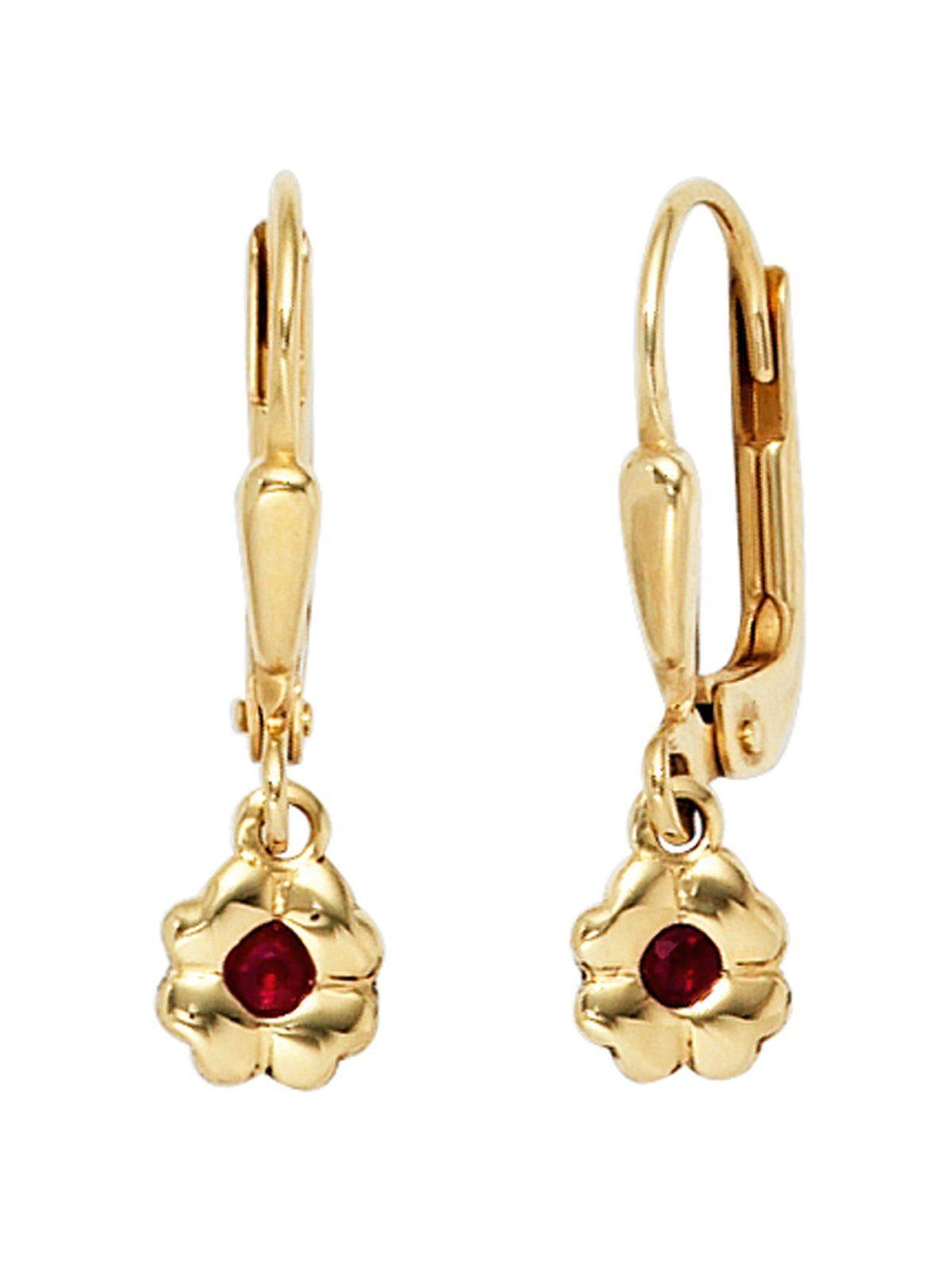 Adelia´s Paar Ohrhänger »Blume« 333 Gold mit Rubin