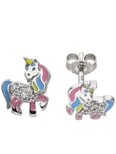 Adelia´s Paar Ohrstecker »Einhorn« 925 Silber mit Zirkonia