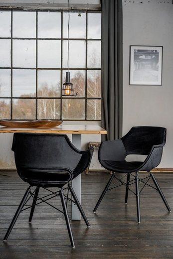 KAWOLA Essgruppe 9-teilig mit Tisch Baumkante Nussbaum u. 8x »Stuhl ZAJA Velvet schwarz«