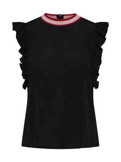 REVIEW Shirtbluse »RIBCOLLAR BLOUSE« Volants