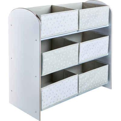 WORLDS APART Ablageregal de Luxe mit 6 Schubladen, weiß