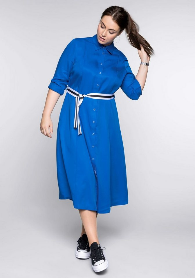 Sheego Blusenkleid in A-Linie   Bekleidung > Kleider > Blusenkleider   Blau   Sheego