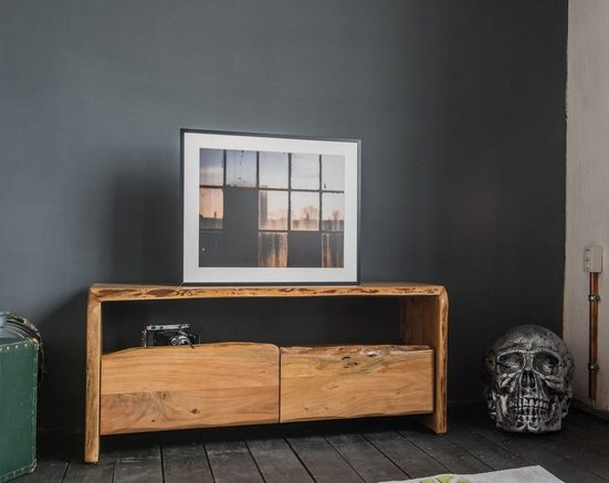 Kasper-Wohndesign TV-Board Lowboard Akazie Massiv-Holz Baumkante »Loft Edge«