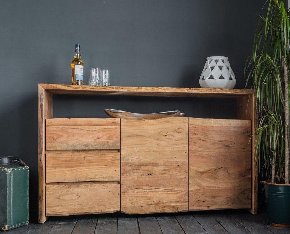Kasper Wohndesign Sideboard Akazie Massiv Holz Baumkante Live Edge