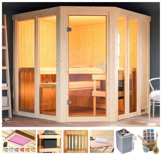 KARIBU Sauna »Bossidy«, 196x196x198 cm, 9 kW Ofen, versch. Ausführungen
