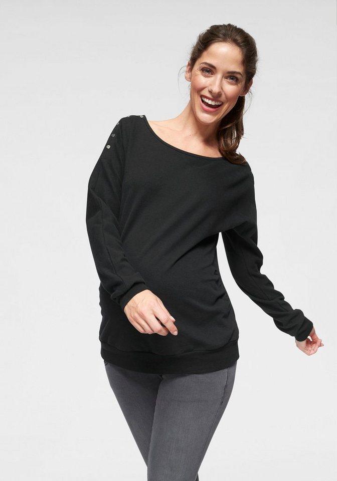 Damen Neun Monate  Umstandssweatshirt mit Stillfunktion schwarz | 08696798036561