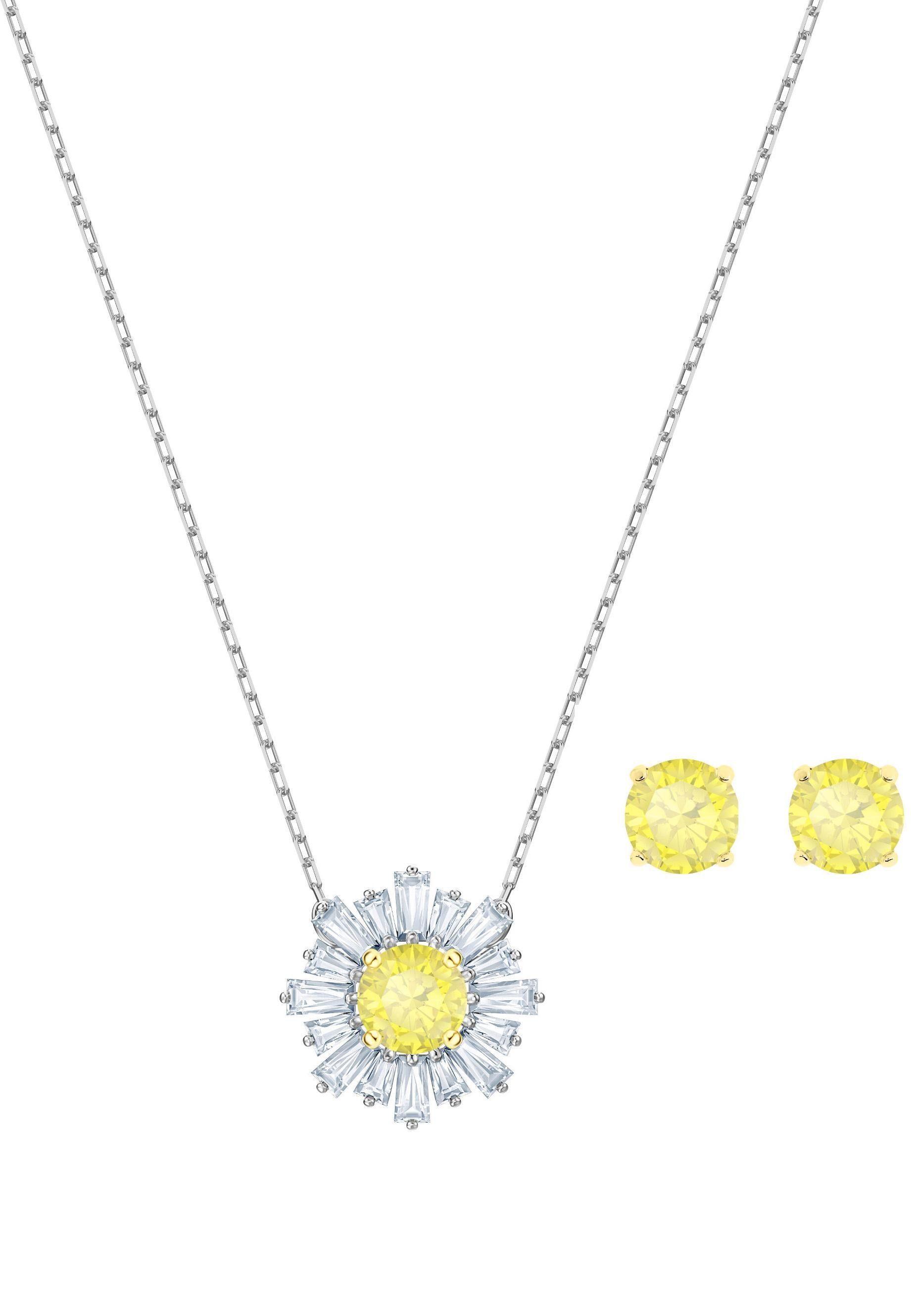 Swarovski Ohrring und Ketten Set »Sunshine, weiss, Metallmix, 5480464« (Set, 3 tlg) mit Swarovski® Kristallen