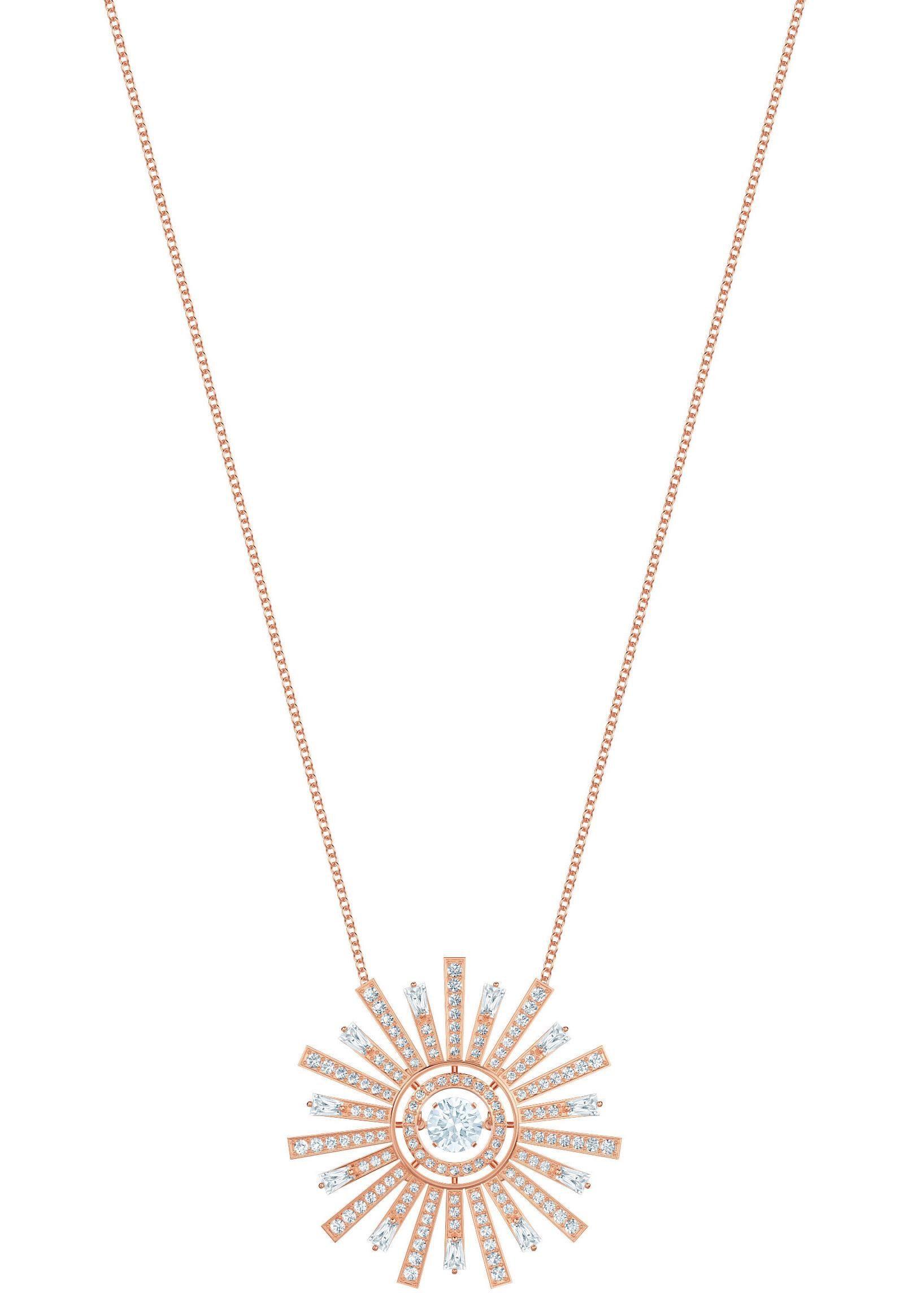 Swarovski Kette mit Anhänger »Sunshine, weiss, rosé Vergoldung« mit Swarovski® Kristallen