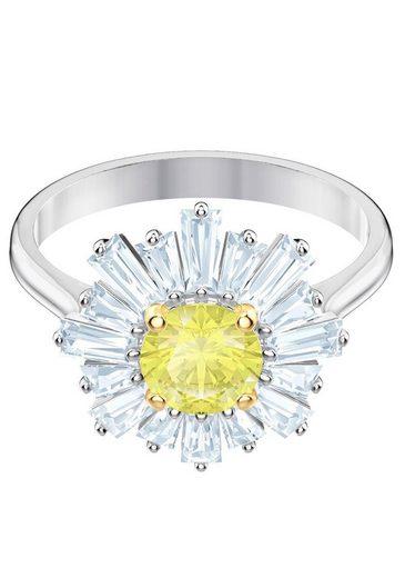 Swarovski Fingerring »Sunshine, gelb, rhodiniert, 5482713, 5482709, 5472481, 5482701« mit Swarovski® Kristallen