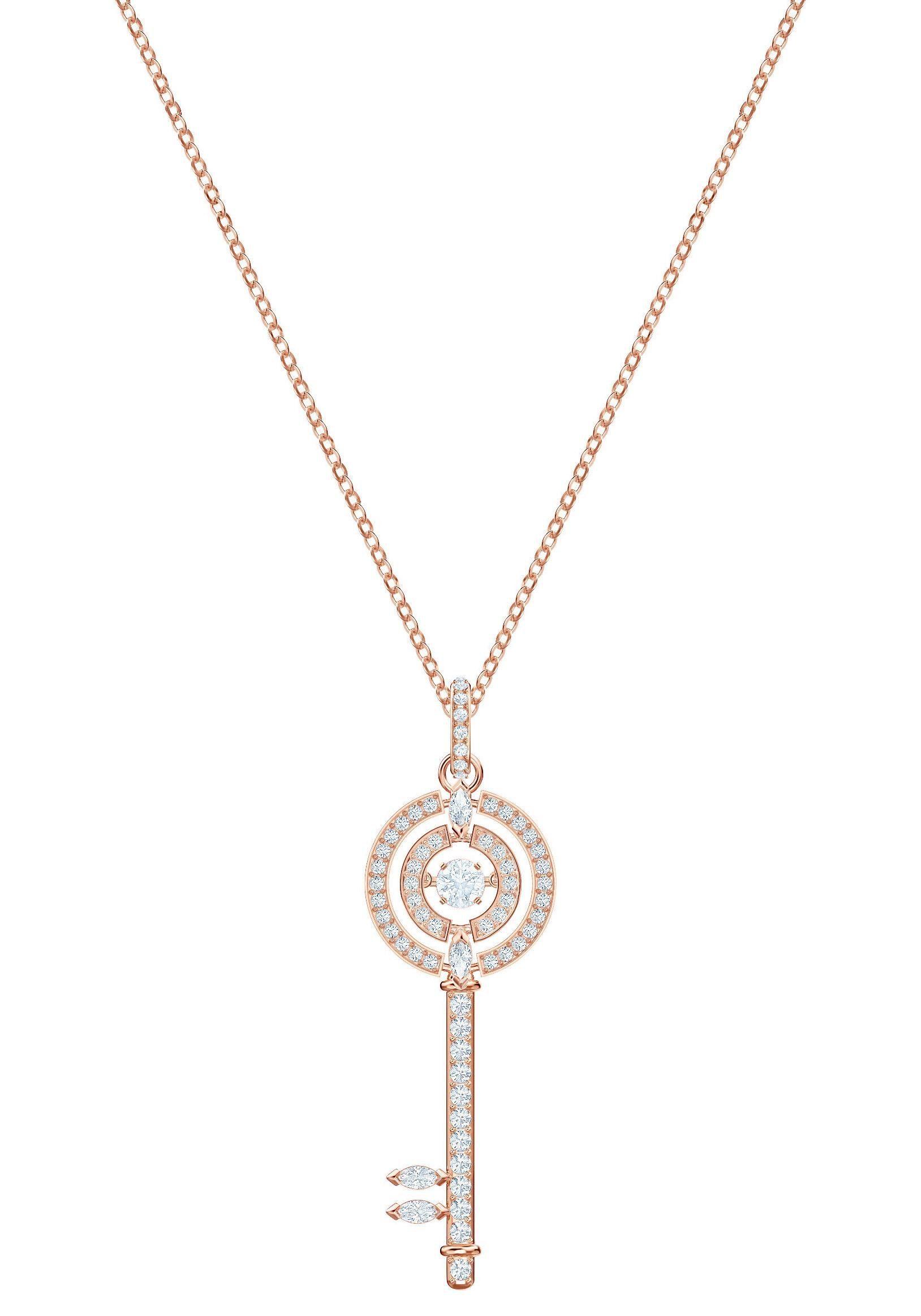 Swarovski Kette mit Anhänger »Sparkling Dance Key, weiss, rosé Vergoldung, 5469120« mit Swarovski® Kristallen