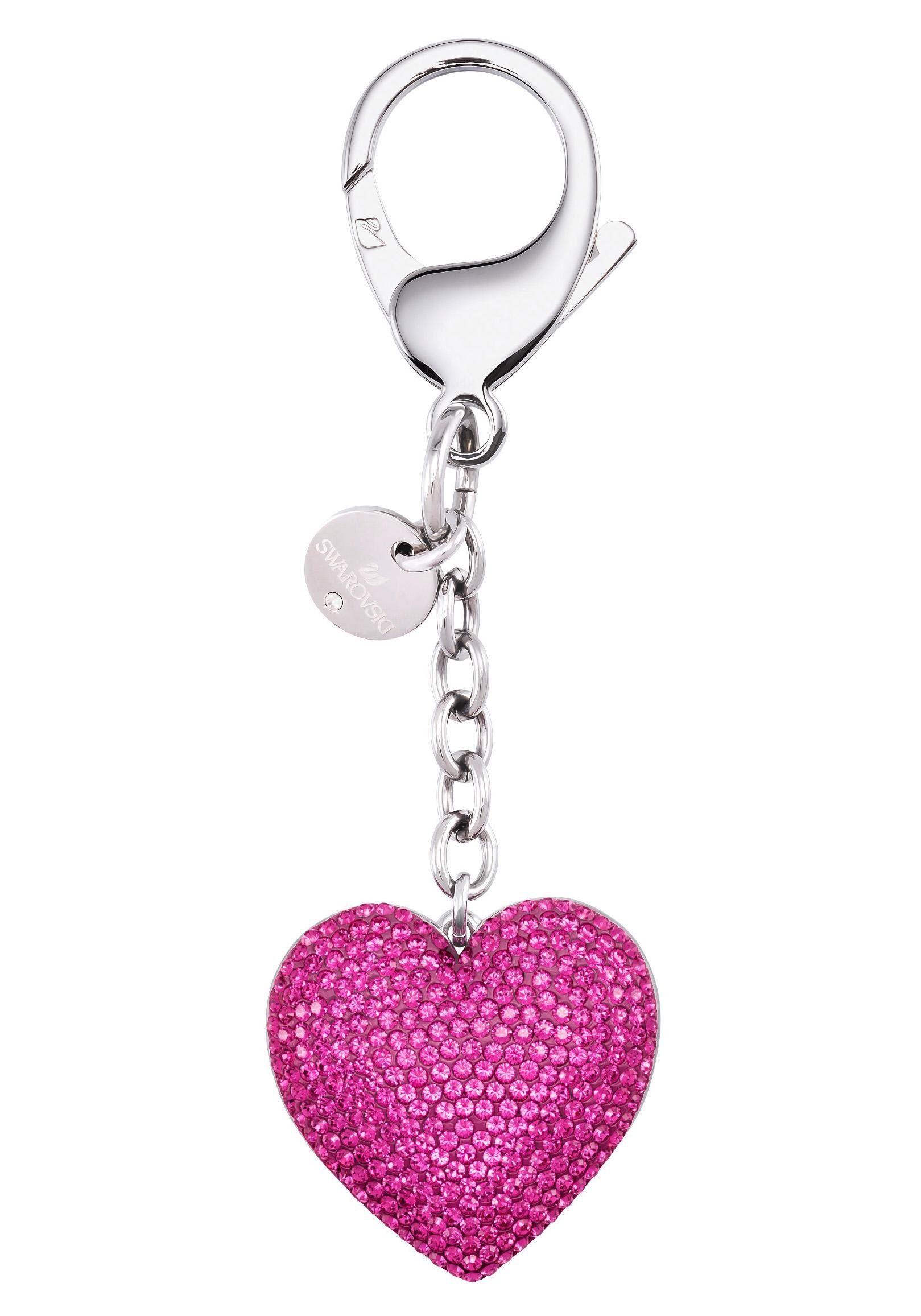 Swarovski Schlüsselanhänger »Lovely Handtaschen-Charm, fuchsia, Edelstahl, 5458417« mit Swarovski® Kristallen