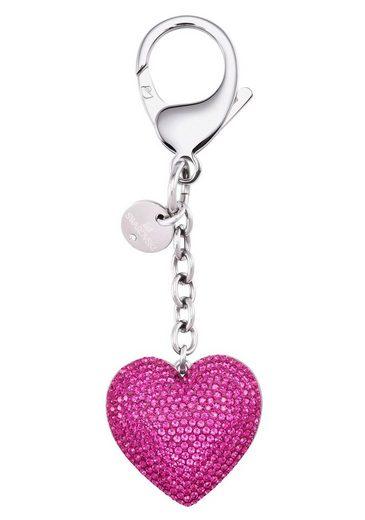 Swarovski Schlüsselanhänger »Lovely Handtaschen-Charm, fuchsia, Edelstahl, 5458417« (1-tlg), mit Swarovski® Kristallen