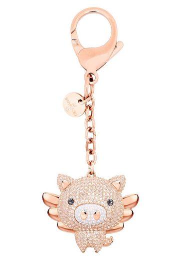 Swarovski Schlüsselanhänger »Little Pig Handtaschen-Charm, rosa, Metallmix, 5457471« (1-tlg), mit Swarovski® Kristallen